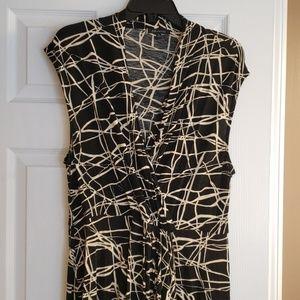 Black & cream abstract line dress